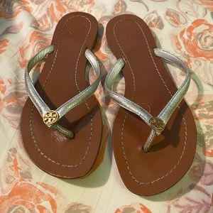 Silver tory Burch sandals size 5
